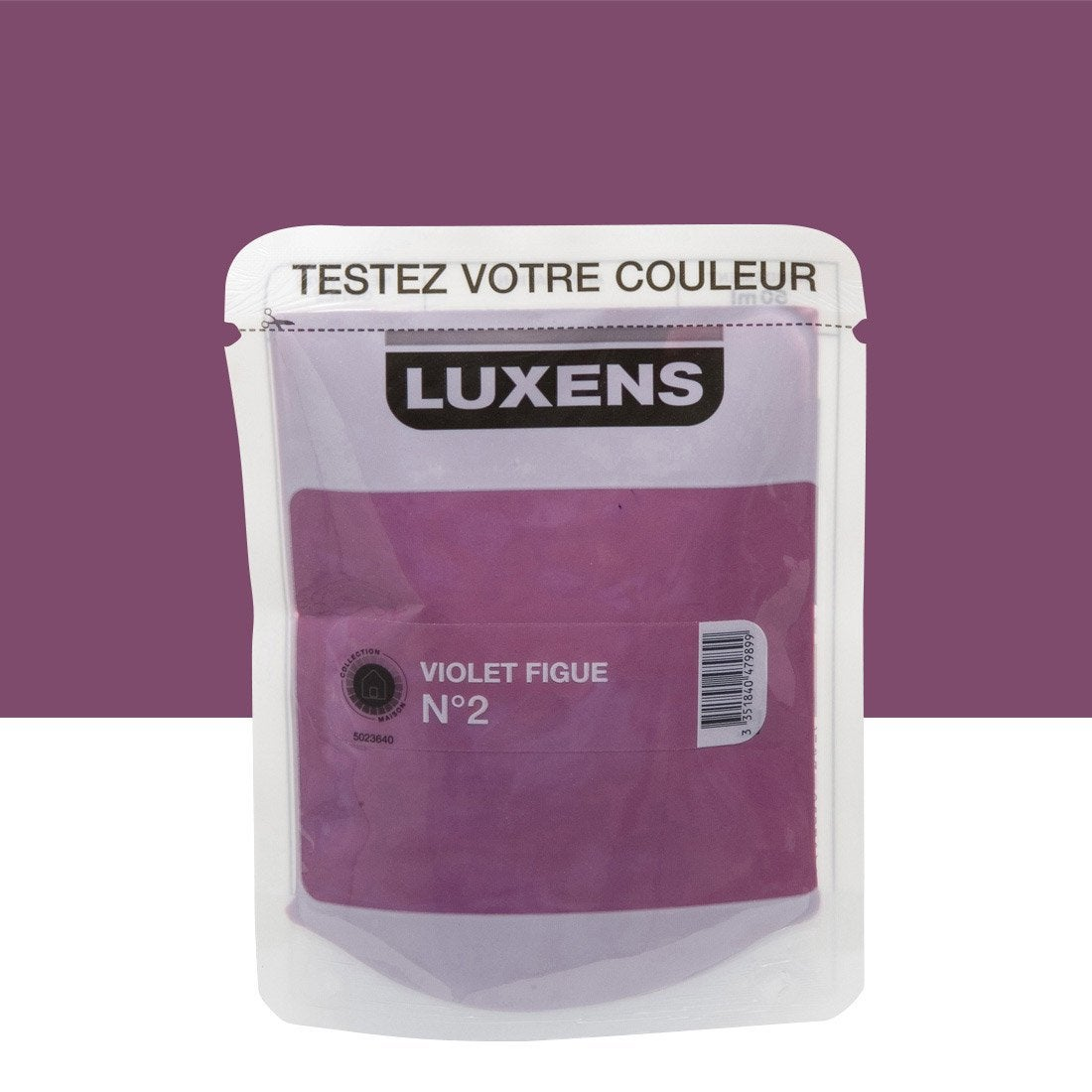 Testeur peinture violet figue 2 luxens couleurs int rieures satin l leroy merlin for Peinture couleur figue
