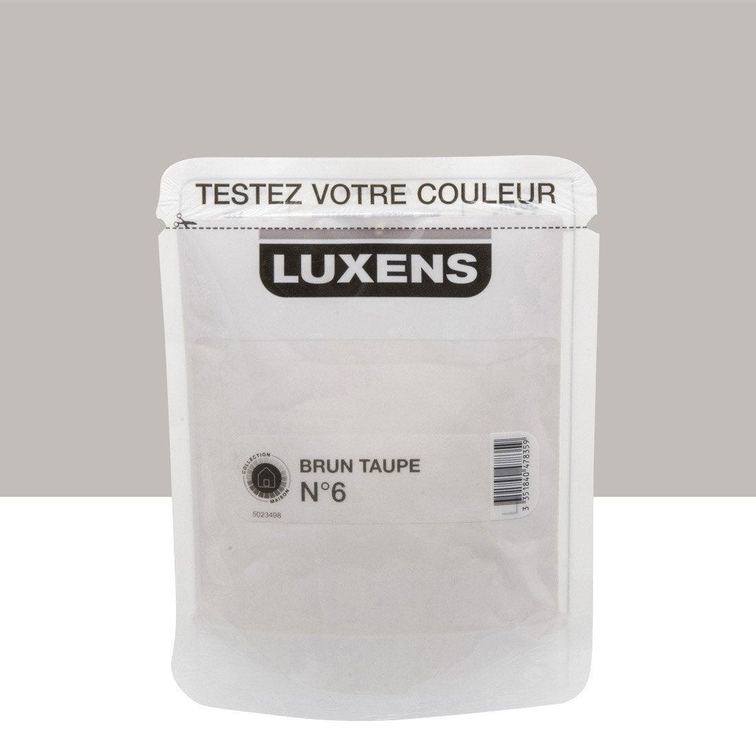 Testeur peinture brun taupe 6 luxens couleurs int rieures satin l leroy merlin for Peinture brun taupe