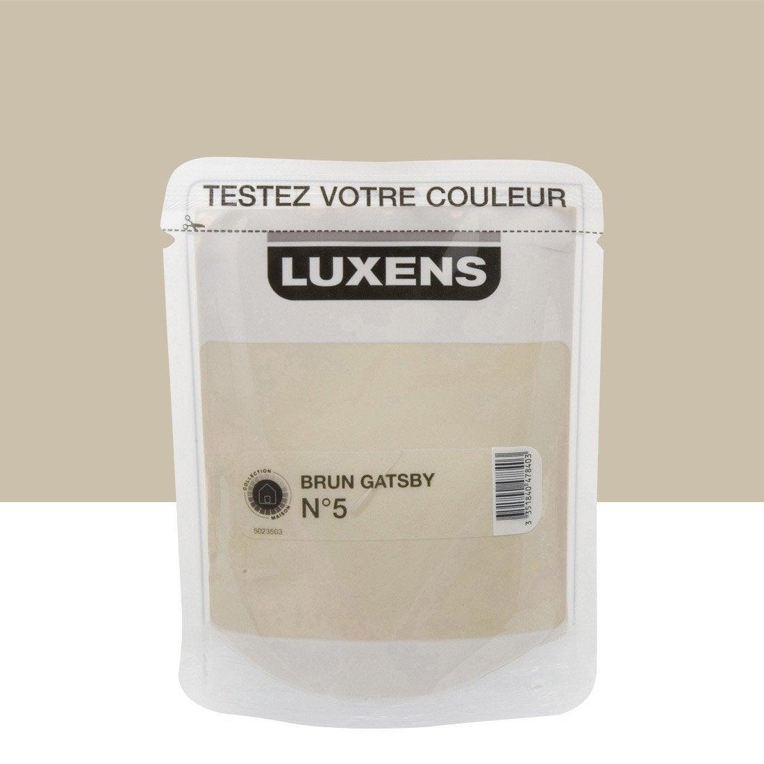 Testeur peinture brun gatsby 5 luxens couleurs int rieures satin l leroy merlin for Peintures interieures leroy merlin