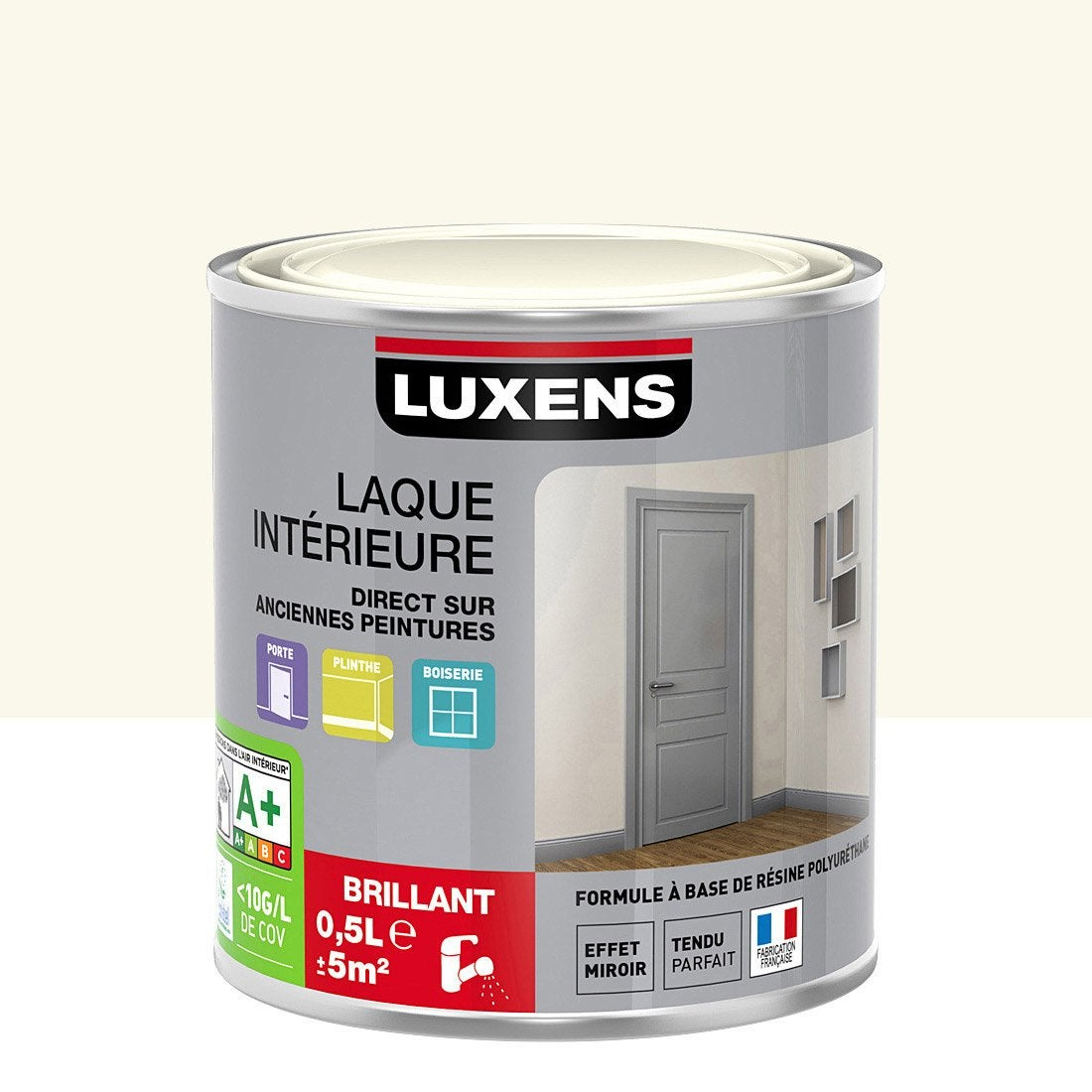 peinture blanc calcaire 4 luxens laque brillante 0 5 l leroy merlin. Black Bedroom Furniture Sets. Home Design Ideas