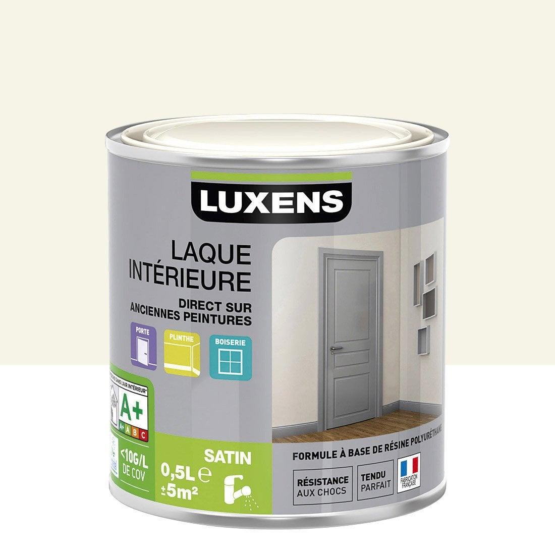 Peinture blanc ivoire 5 luxens laque satin 0 5 l leroy for Peinture cuisine blanc laque