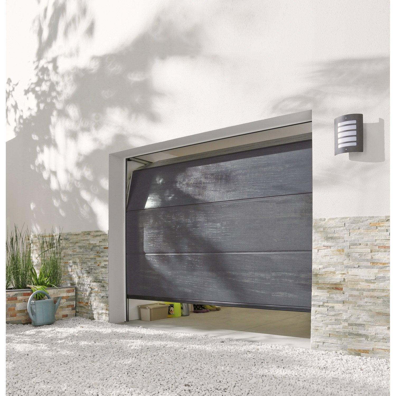 Porte de garage sectionnelle rainures horizontales 200 x - Porte de garage noir ...