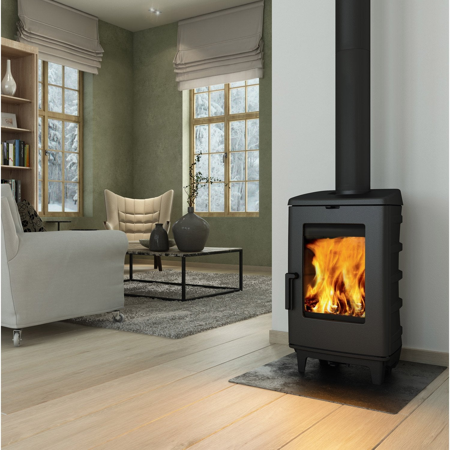 Po le bois norflam ardente noir 8 kw leroy merlin for Decoration poele a bois