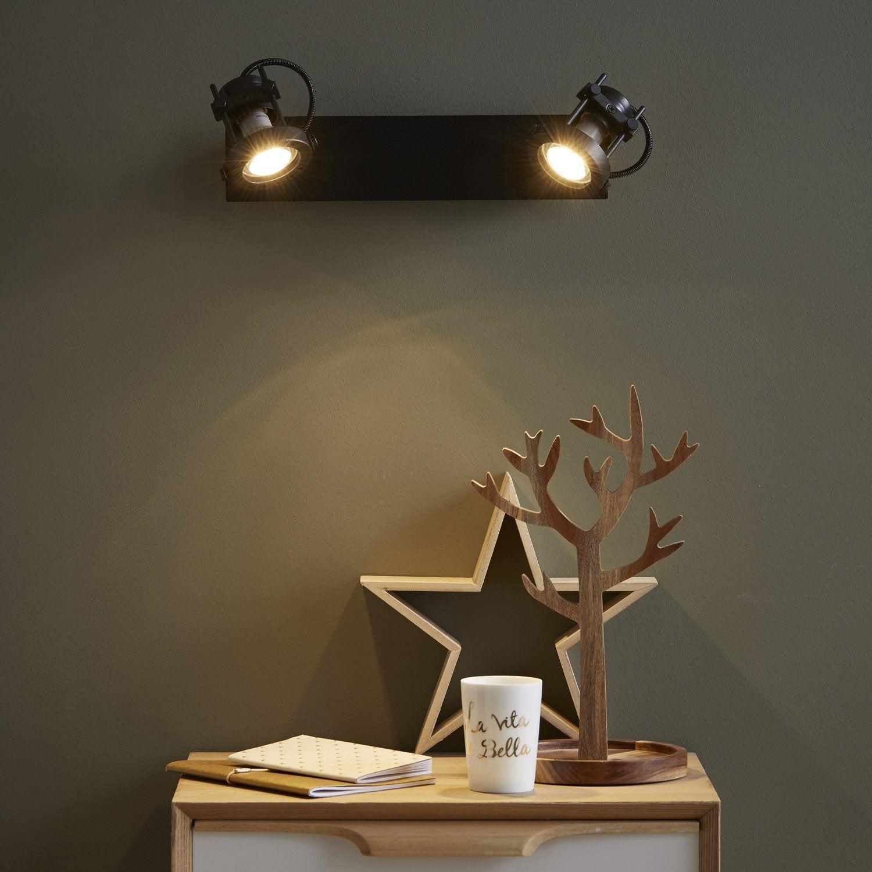 rampe 2 spots 2 x gu10 noir technic inspire leroy merlin. Black Bedroom Furniture Sets. Home Design Ideas