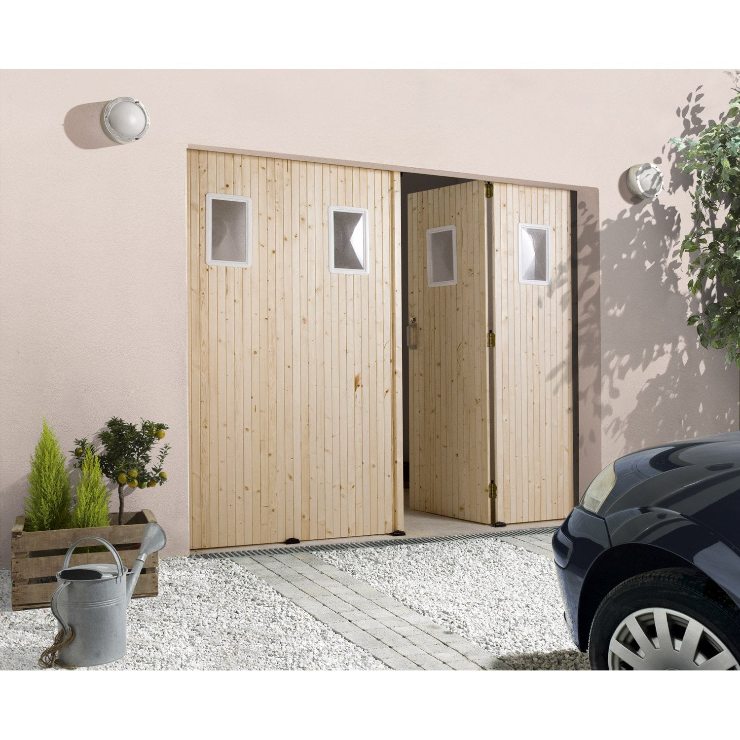 porte de garage pliante manuelle primo 200 x 240 cm avec hublot leroy merlin. Black Bedroom Furniture Sets. Home Design Ideas