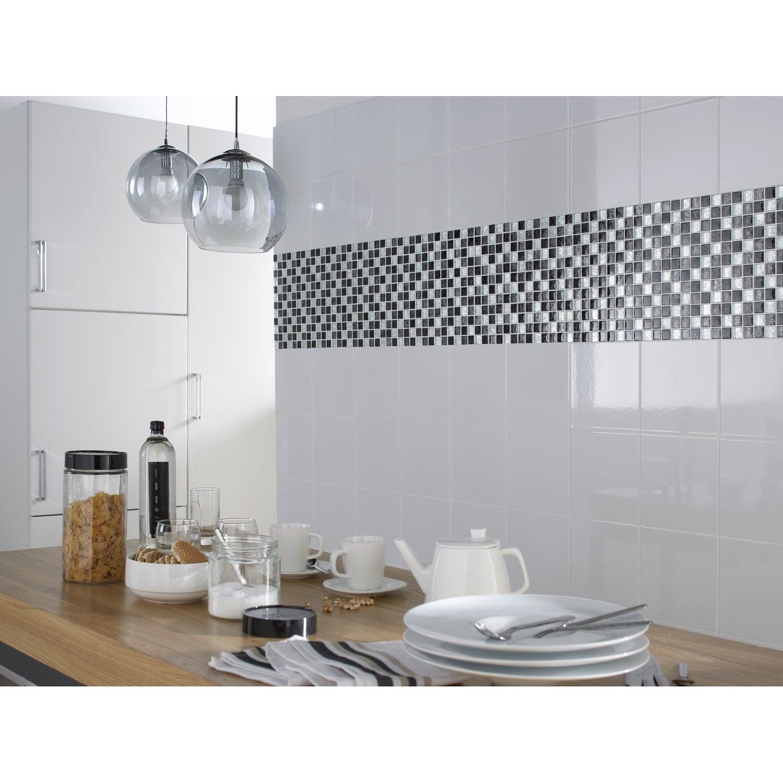 Fa ence mur blanc basic x cm leroy merlin - Faience cuisine rouge et blanc ...
