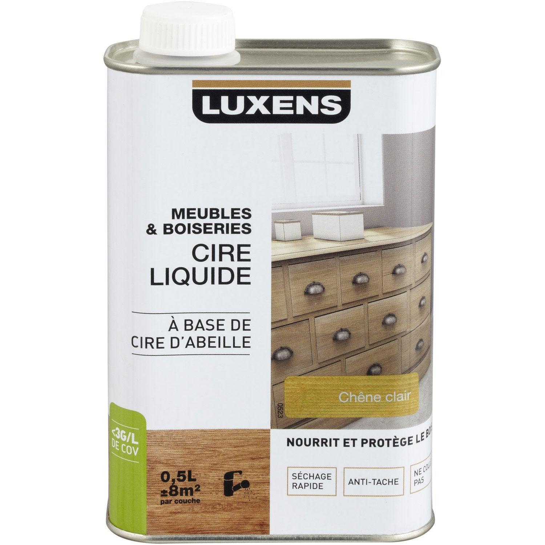 Cire liquide meuble et objets luxens 0 5 l ch ne clair leroy merlin - Cire parquet leroy merlin ...