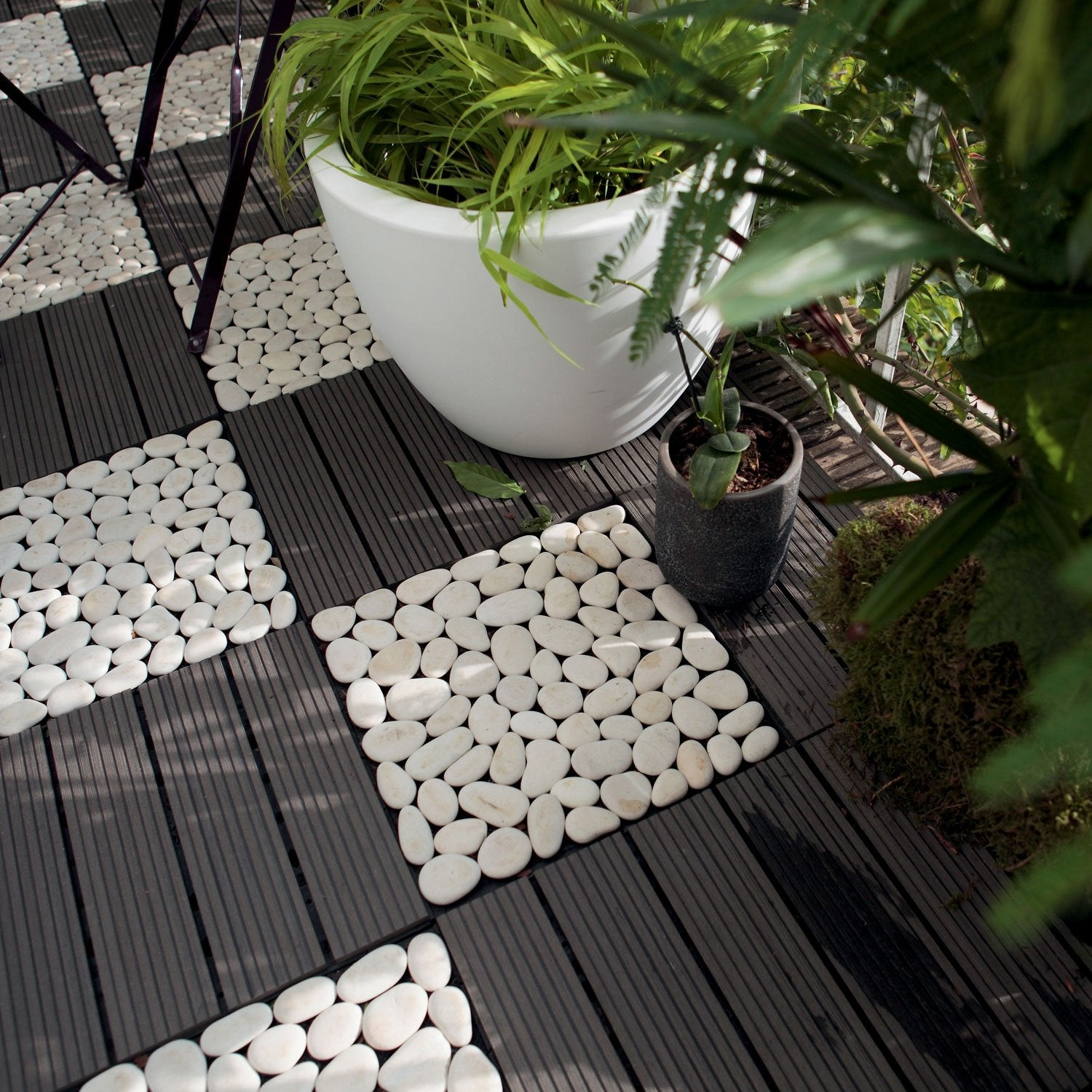 Dalle clipsable composite gris x cm x mm leroy merlin - Dalle de terrasse composite clipsable ...