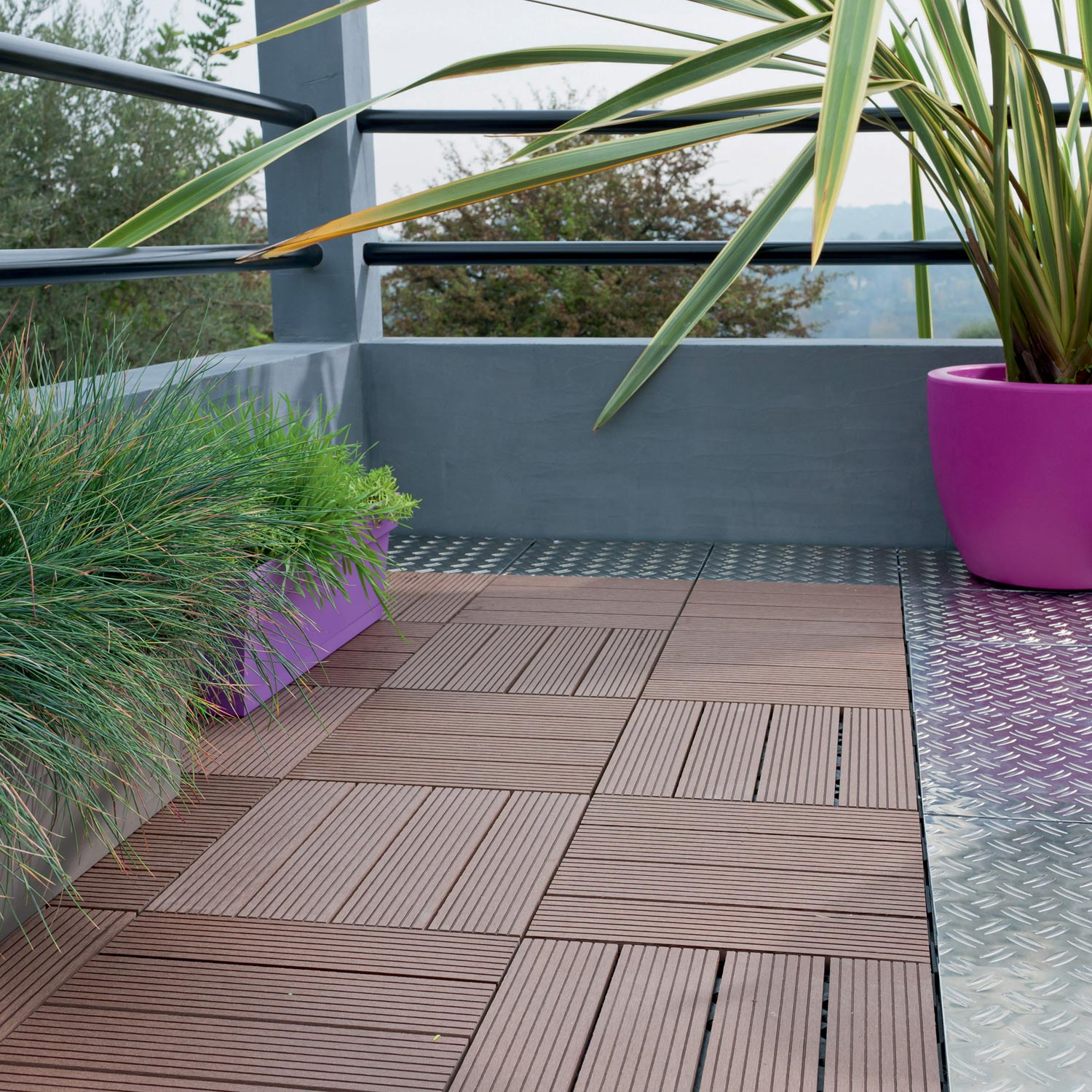 Dalle clipsable snap and go en composite bois bambou brun l30xl30cmxep23mm - Dalle terrasse composite leroy merlin ...