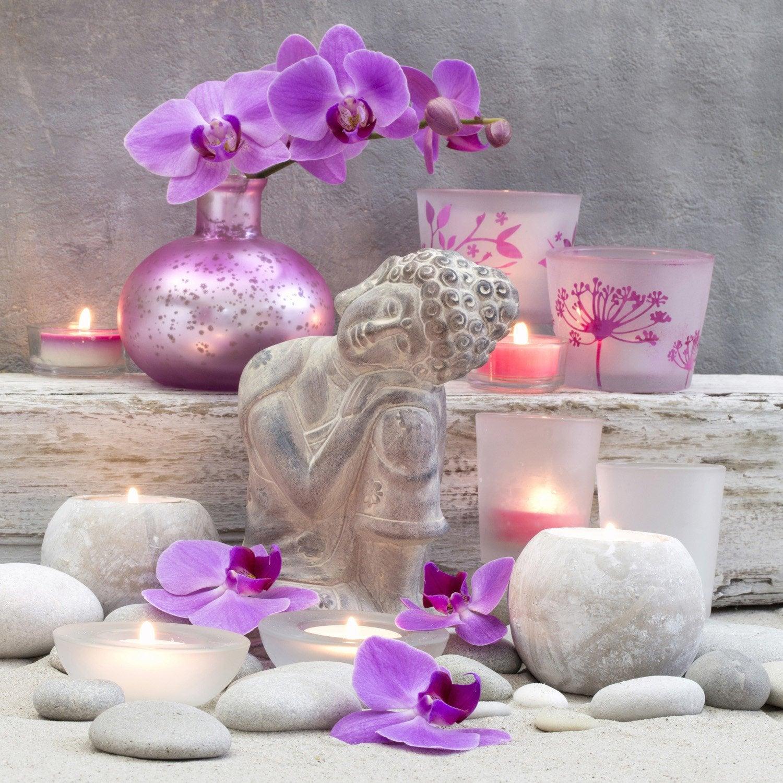 toile led bouddha et bougies 30x30 cm leroy merlin. Black Bedroom Furniture Sets. Home Design Ideas