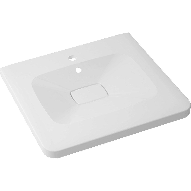 Plan vasque simple shine marbre de synth se 60 cm leroy for Leroy merlin plan vasque
