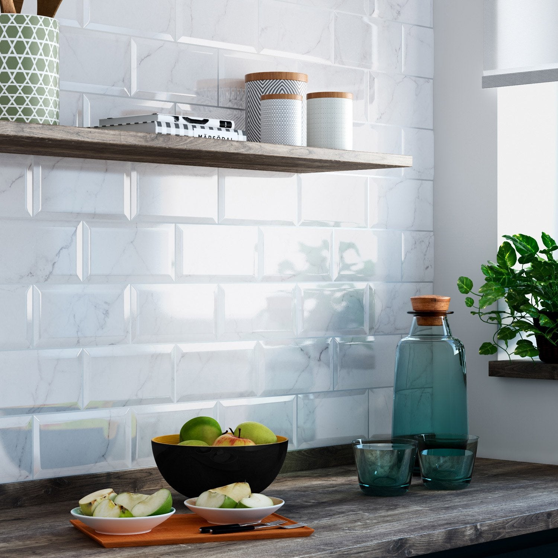 Fa ence mur blanc metro carrare x cm leroy merlin for Faience cuisine 10 x 10