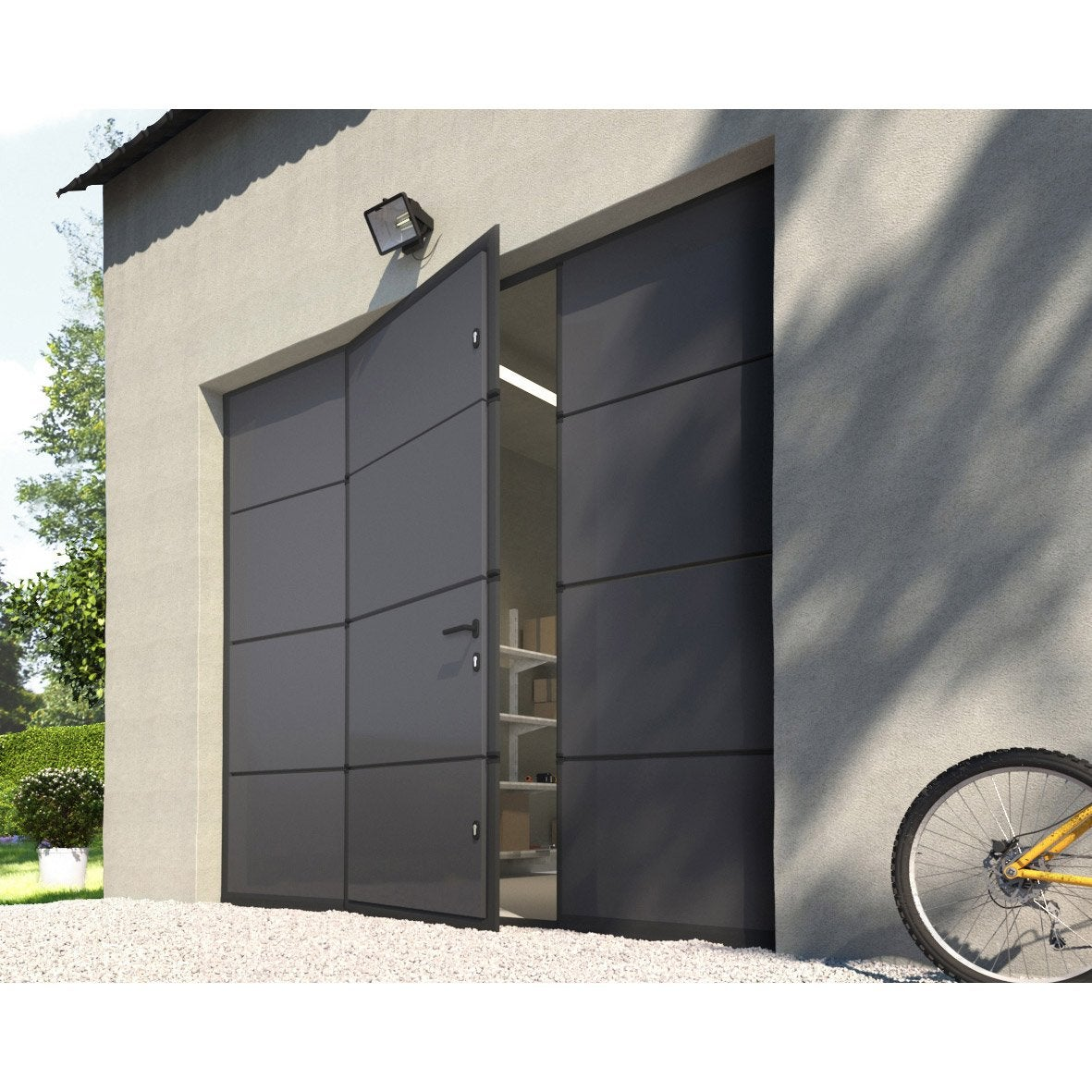 Porte de garage sectionnelle motoris e artens essentiel 200x240cm avec portillon leroy merlin - Porte de garage motorisee somfy ...