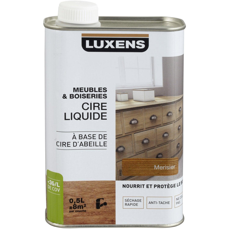 Cire liquide meuble et objets luxens cir merisier 0 5l for Cire pour meuble peint