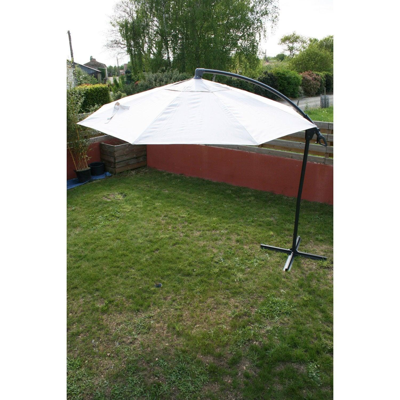 parasol d port malaga cru rond x cm leroy. Black Bedroom Furniture Sets. Home Design Ideas