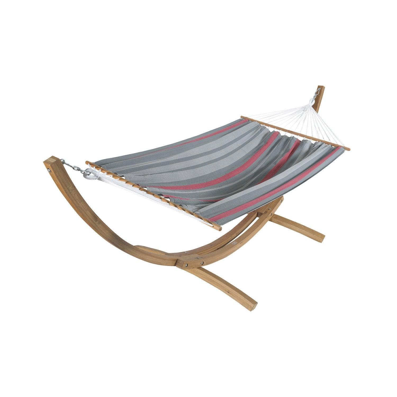 support et toile de hamac set bois maracana jobek rouge gris leroy merlin. Black Bedroom Furniture Sets. Home Design Ideas