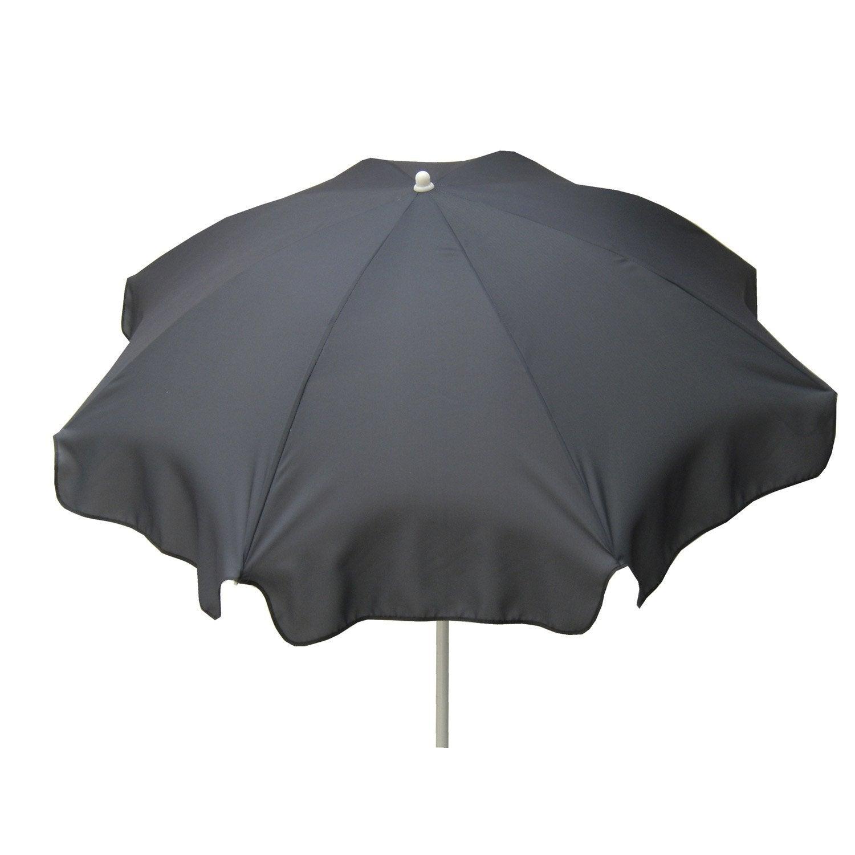 parasol droit lola gris zingu rond x cm leroy merlin. Black Bedroom Furniture Sets. Home Design Ideas