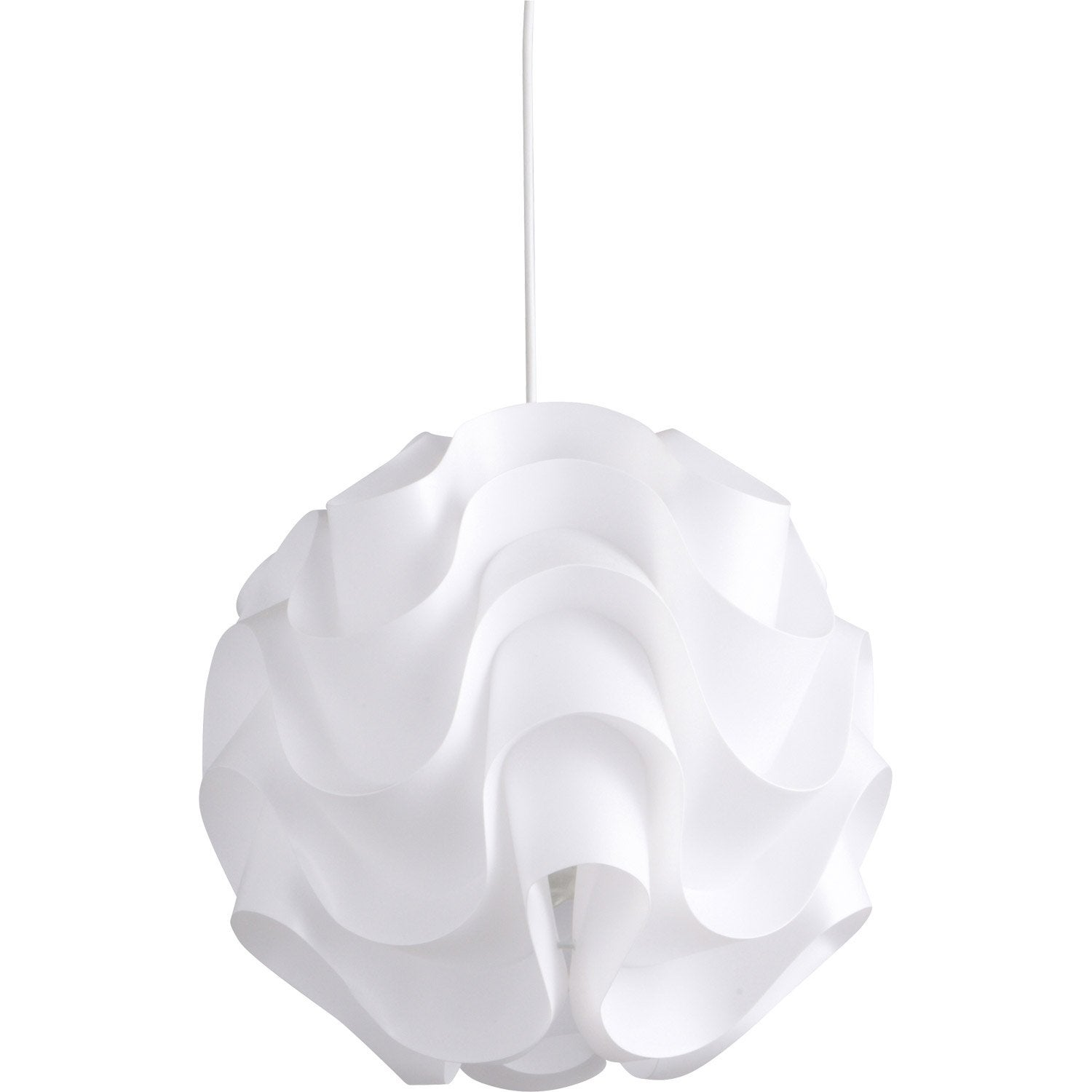 Suspension design sky plastique blanc 1 x 60 w inspire for Abat jour leroy merlin