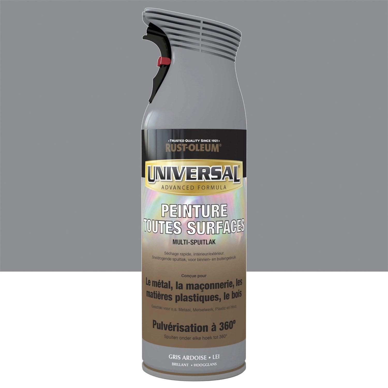 Peinture a rosol multi materiaux brillant rustoleum gris ardoise 0 4 l leroy merlin for Peinture gris brillant