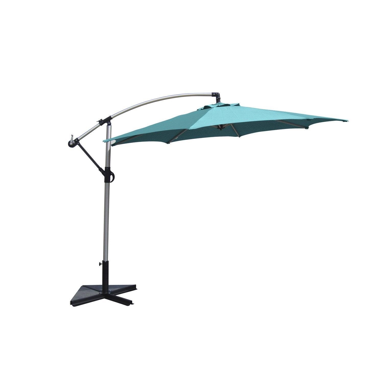 parasol d port florence bleu atoll rond x cm leroy merlin