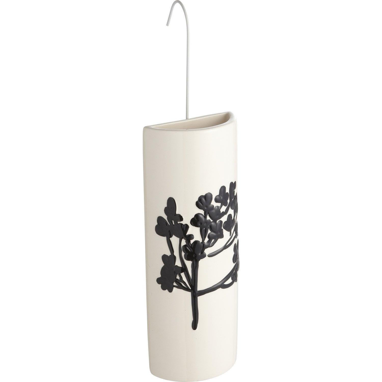 saturateur en c ramique demi lune motif feuilles noires. Black Bedroom Furniture Sets. Home Design Ideas