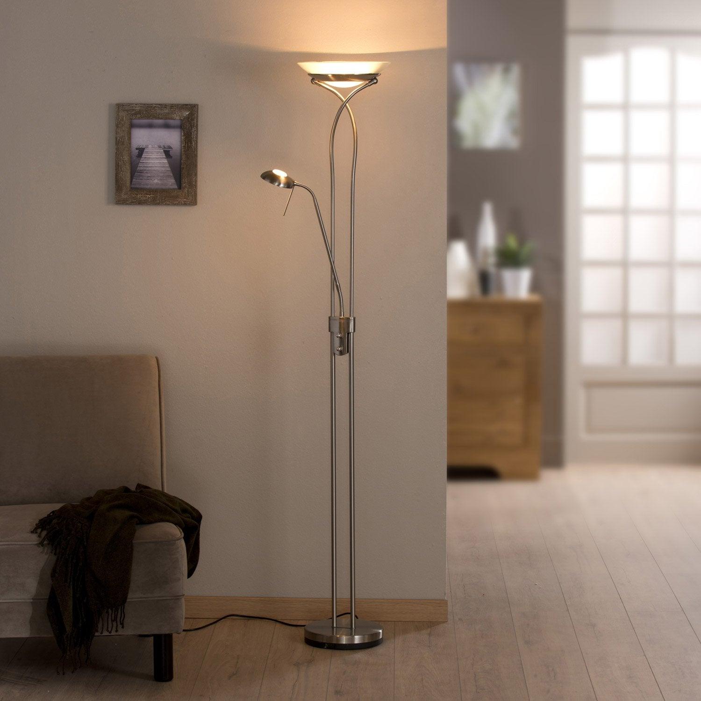 Lampadaire avec liseuse eole inspire 180 cm blanc 230 w - Lampadaire interieur leroy merlin ...