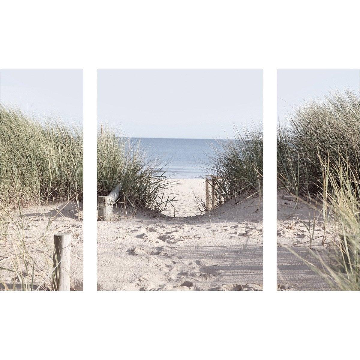 triptyque plage deco glass 30 60 30x80 cm leroy merlin. Black Bedroom Furniture Sets. Home Design Ideas
