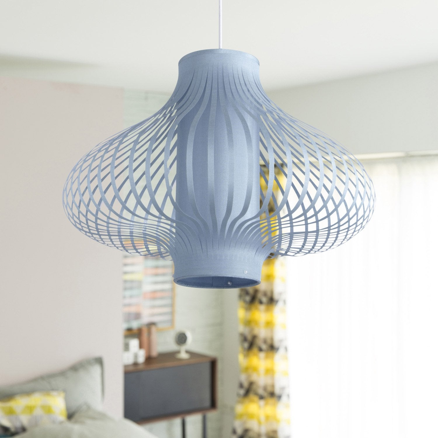 Suspension contemporain feliz tissus bleu 1 x 40 w seynave for Suspension bleu
