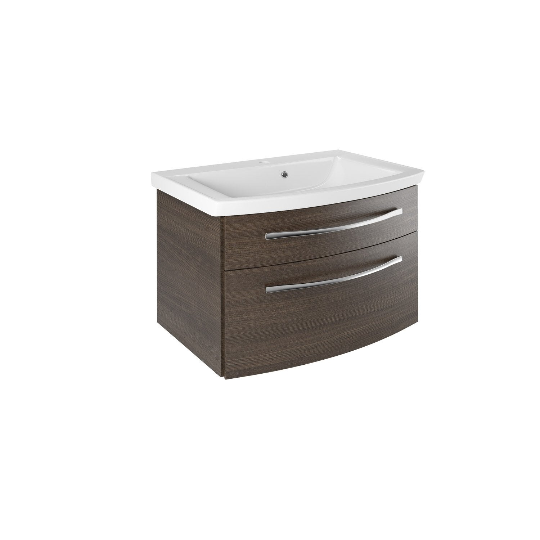 meuble sous vasque l 69 5 x h 48 2 x p 48 0 cm marron image leroy merlin