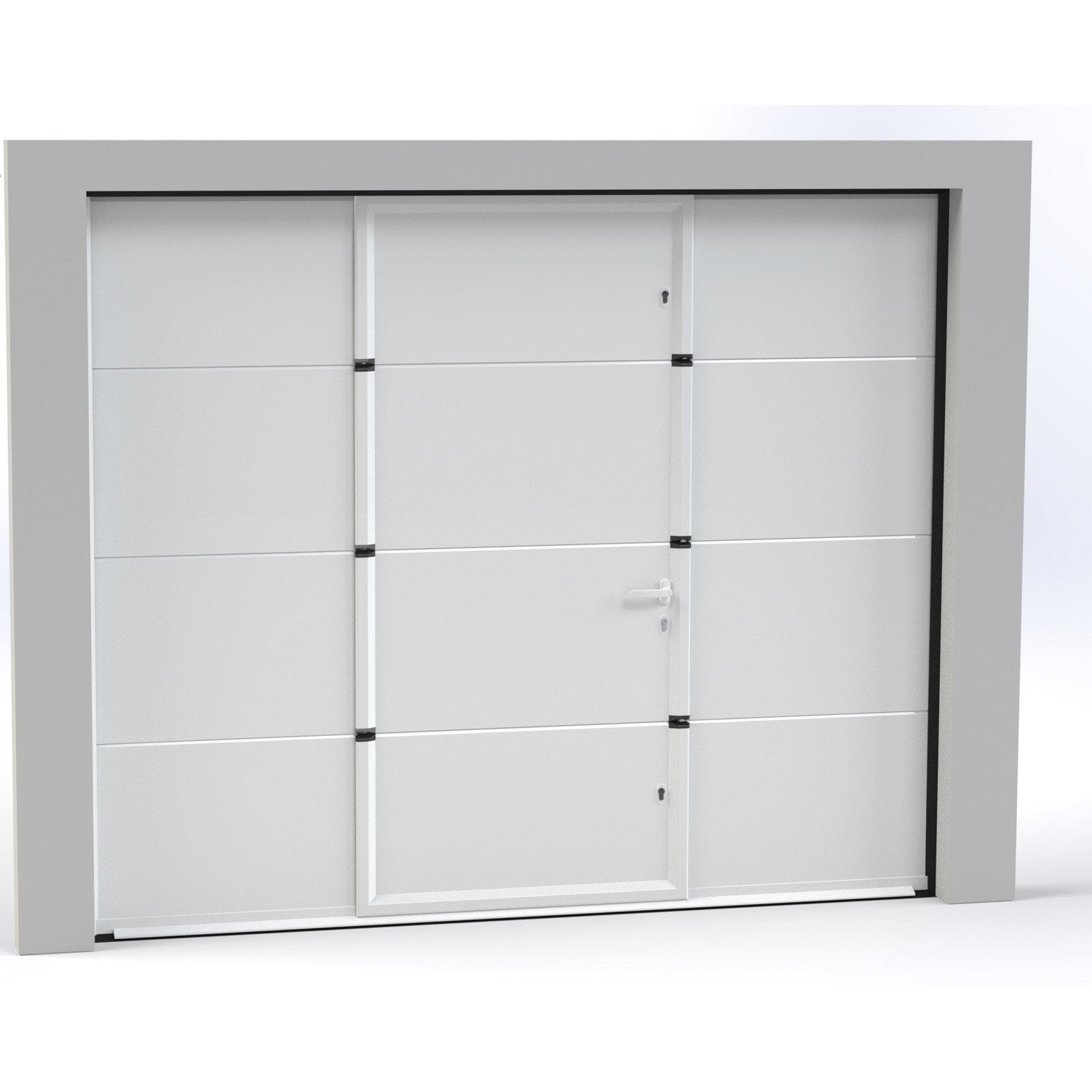 Porte De Garage Sectionnelle Motoris E Artens Essentiel 200x300cm Avec Portillon Leroy Merlin