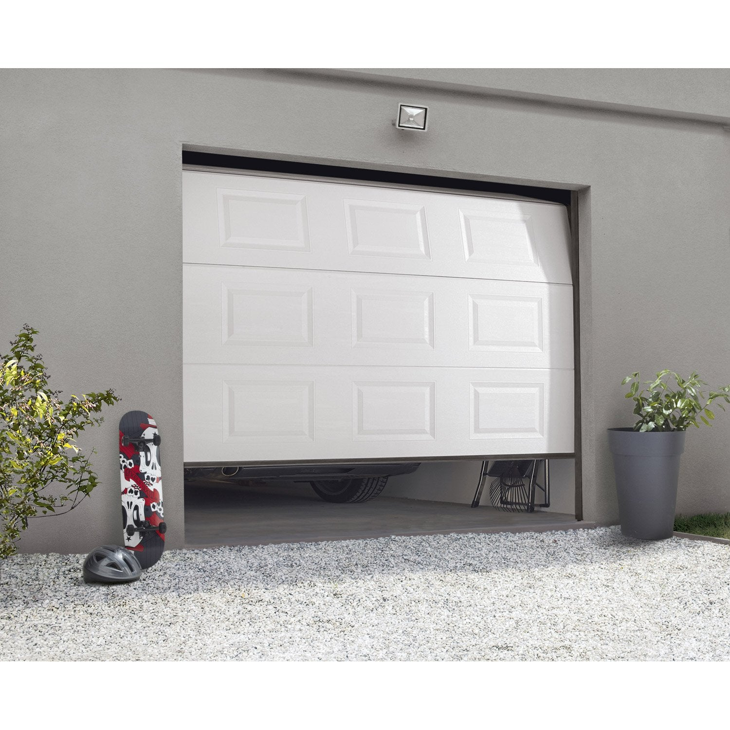 Porte de garage sectionnelle motoris e artens essentiel h - Leroy merlin porte de garage sectionnelle ...