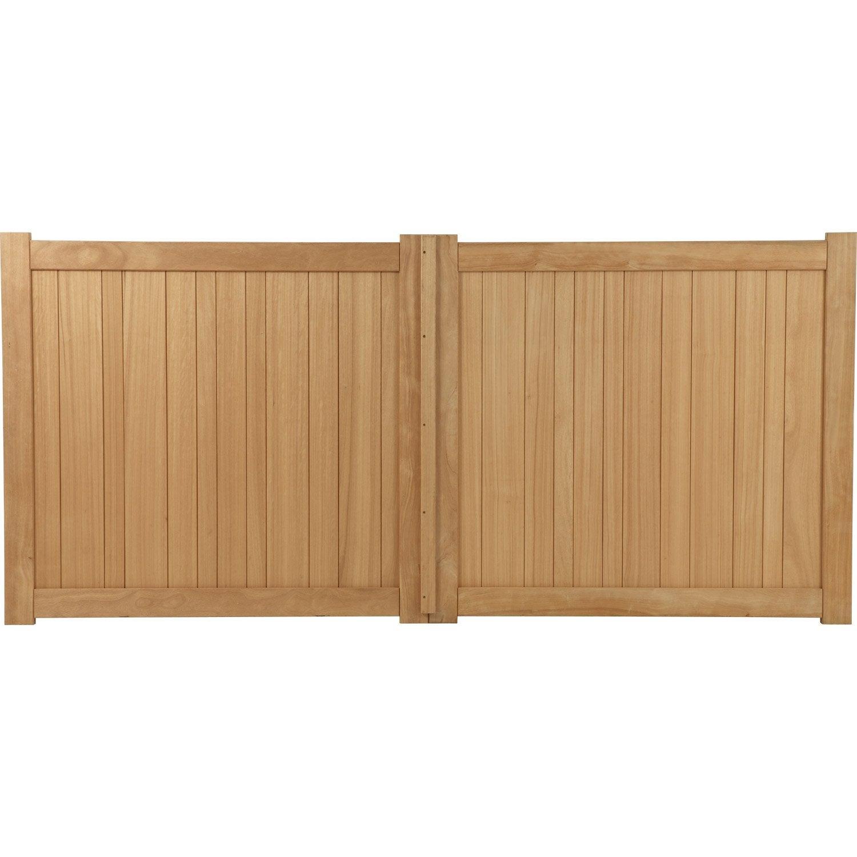 Portail battant bois, Antibes, naturel, 300x165cm  Leroy