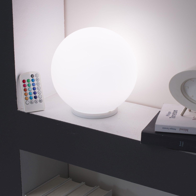 Lampe palla verre blanc 3 4 w leroy merlin - Lampe de chevet blanc ...