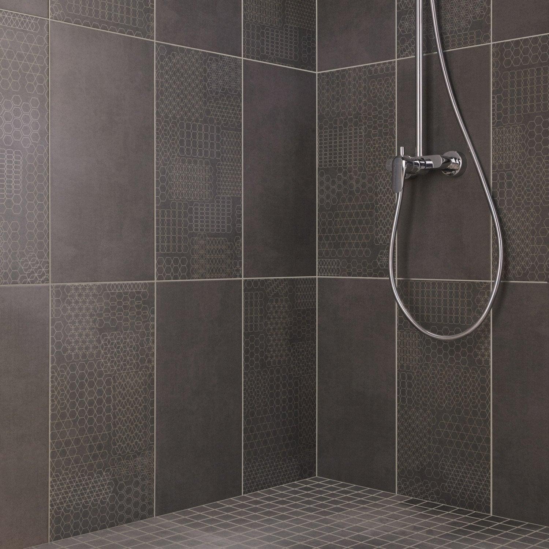Mosa que sol et mur tweed anthracite leroy merlin - Comment poser du carrelage salle de bain ...