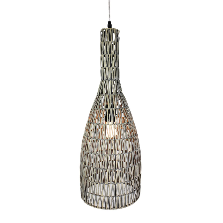suspension nature teva rotin gris 1 x 60 w lussiol leroy. Black Bedroom Furniture Sets. Home Design Ideas