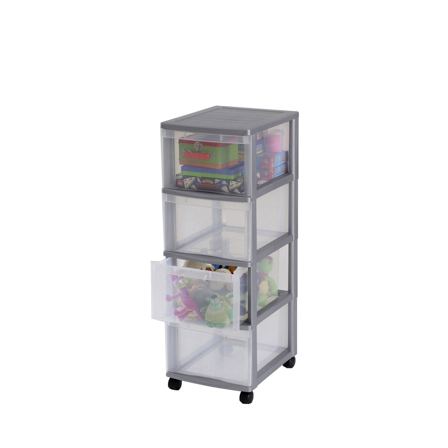 Tour de rangement optimo plastique x x for Meuble bureau leroy merlin