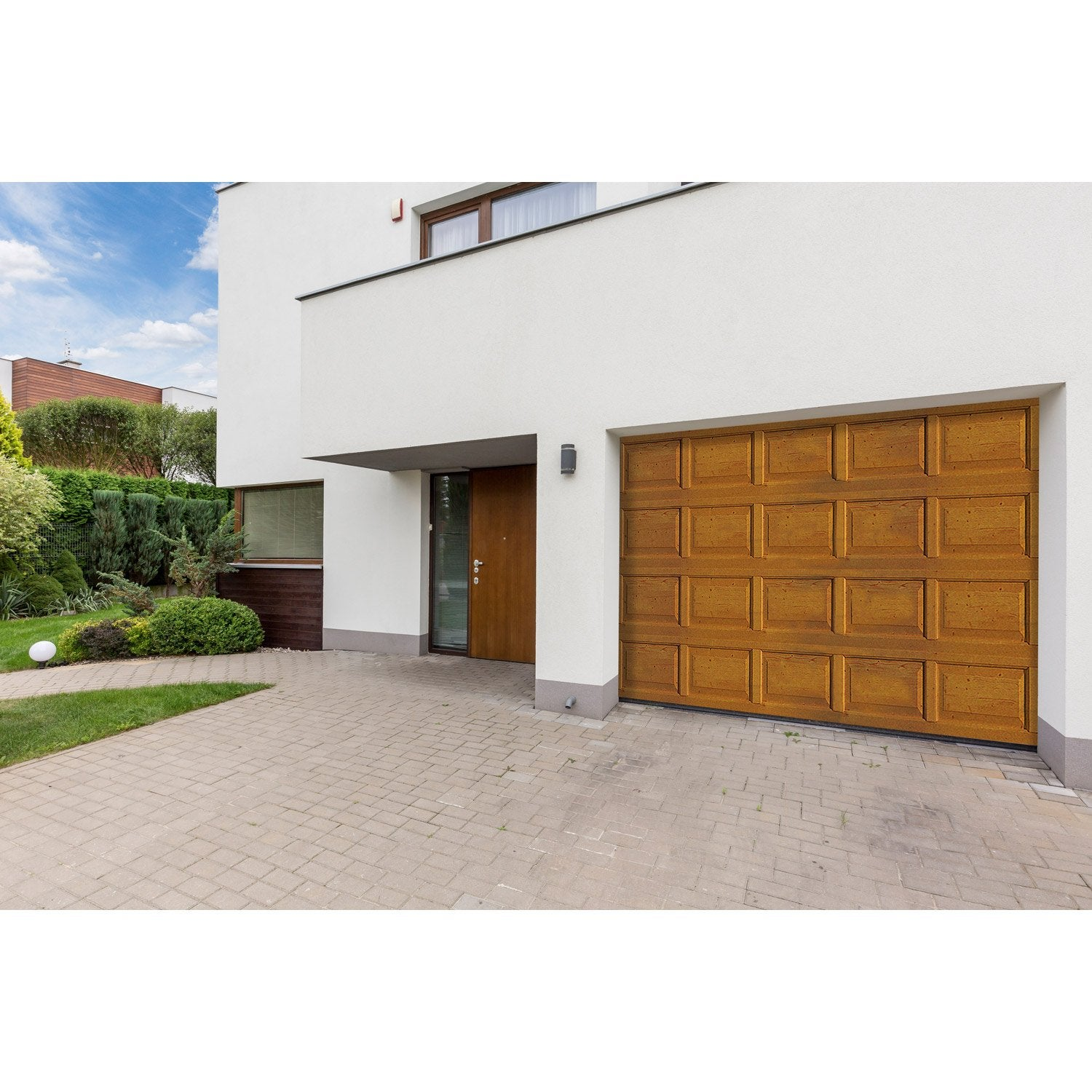 Porte de garage sectionnelle motoris e artens premium h - Leroy merlin porte de garage sectionnelle motorisee ...