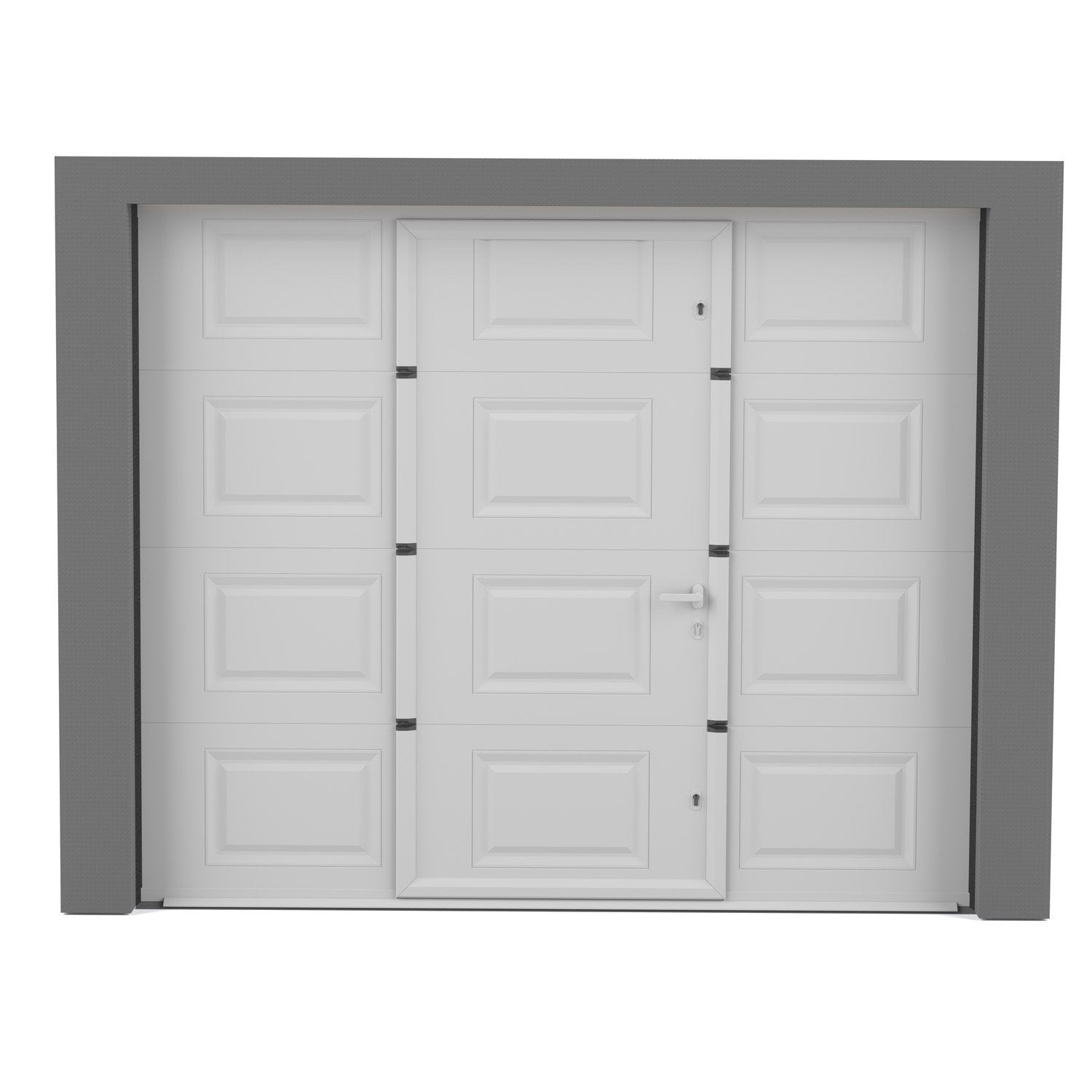 Porte de garage sectionnelle motoris e artens essentiel for Porte exterieur de jardin leroy merlin