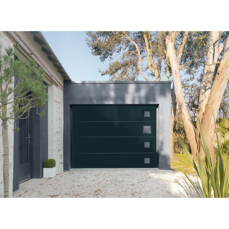 Porte de garage sectionnelle motoris e artens premium h for Porte de garage 4 vantaux leroy merlin