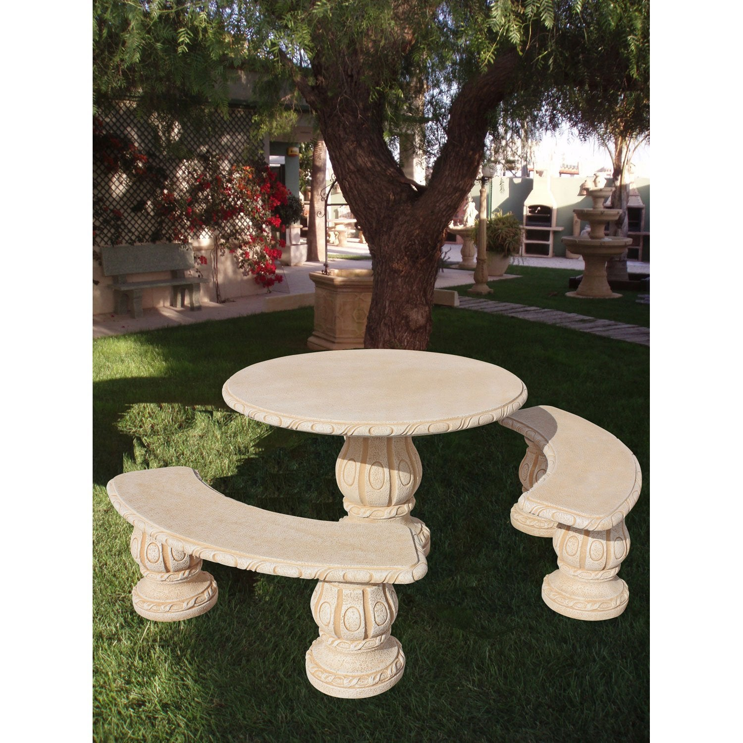 Salon bas de jardin alamo ocre 1 table ronde 2 bancs - Salon de jardin table ronde ...