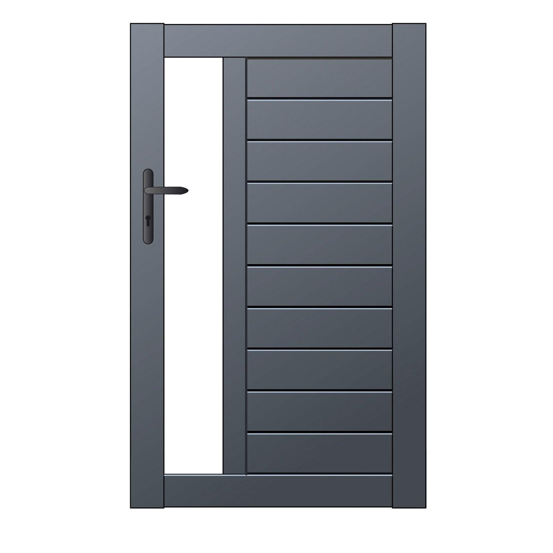 portillon battant naterial mix it x cm gris anthracite leroy merlin. Black Bedroom Furniture Sets. Home Design Ideas