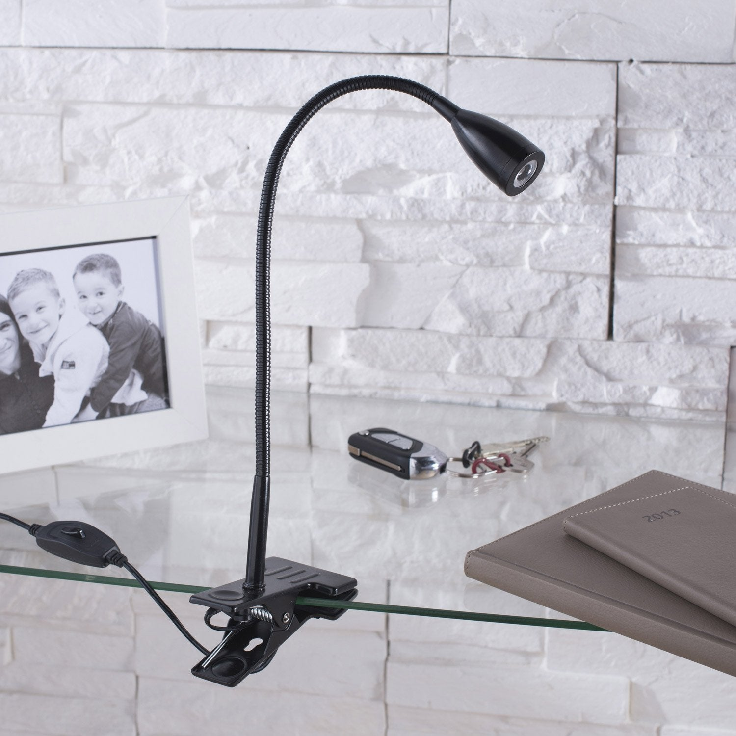 lampe de bureau led int gr e pince noir led gao inspire leroy merlin. Black Bedroom Furniture Sets. Home Design Ideas