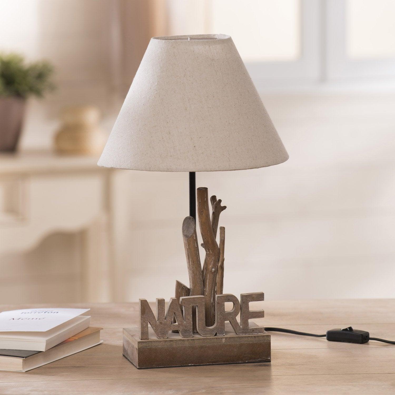 lampe nature seynave tissu cru 60w leroy merlin. Black Bedroom Furniture Sets. Home Design Ideas
