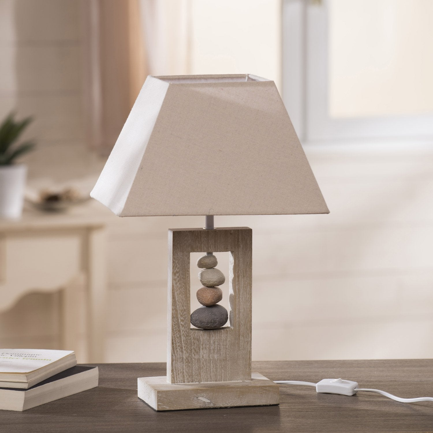 Lampe cabourg seynave tissu naturel 40 w leroy merlin - Table de chevet leroy merlin ...