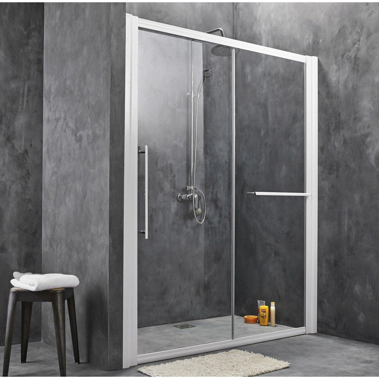 Porte de douche coulissante breuer palerme verre de s curit transparent leroy merlin - Porte de douche en verre coulissante ...
