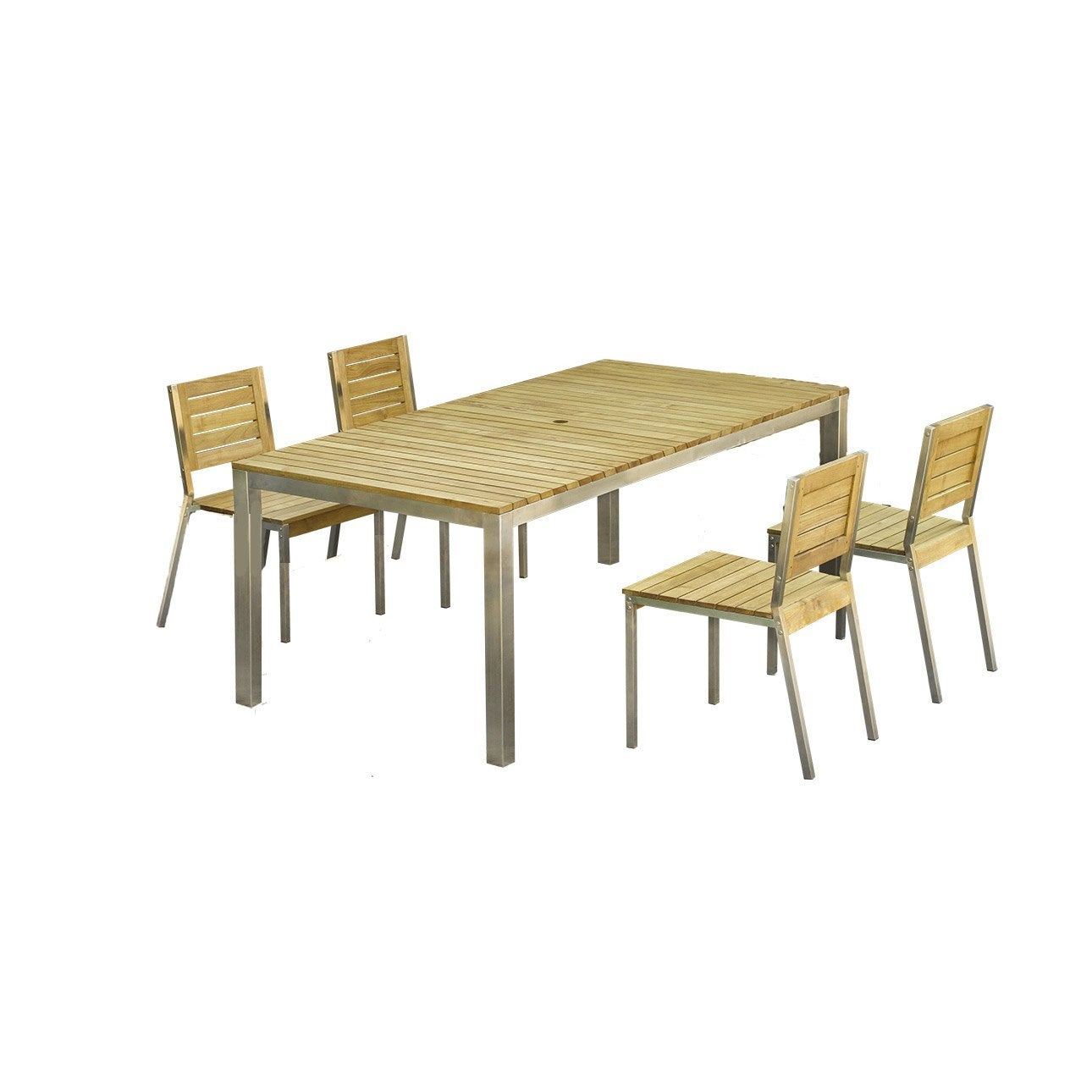 Salon de jardin robinox bois naturel 1 table 200x100 2 - Table pliante 4 chaises integrees ...