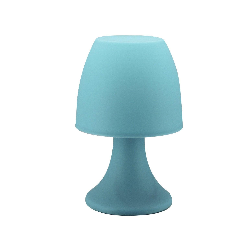 Lampe tisi inspire plastique bleu w leroy merlin - Lampe de chevet a pile ...