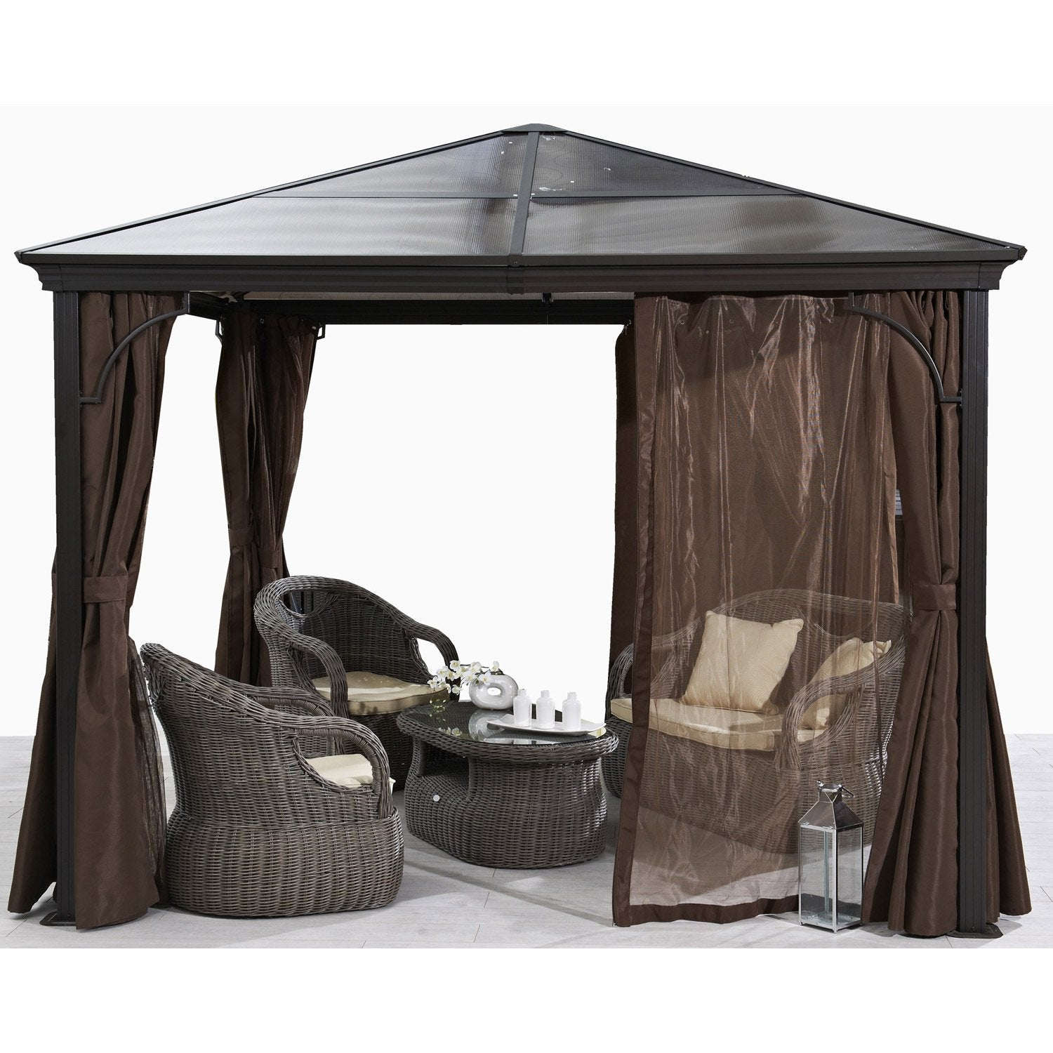 pergola autoportante verona acier et aluminium marron 9 m leroy merlin. Black Bedroom Furniture Sets. Home Design Ideas