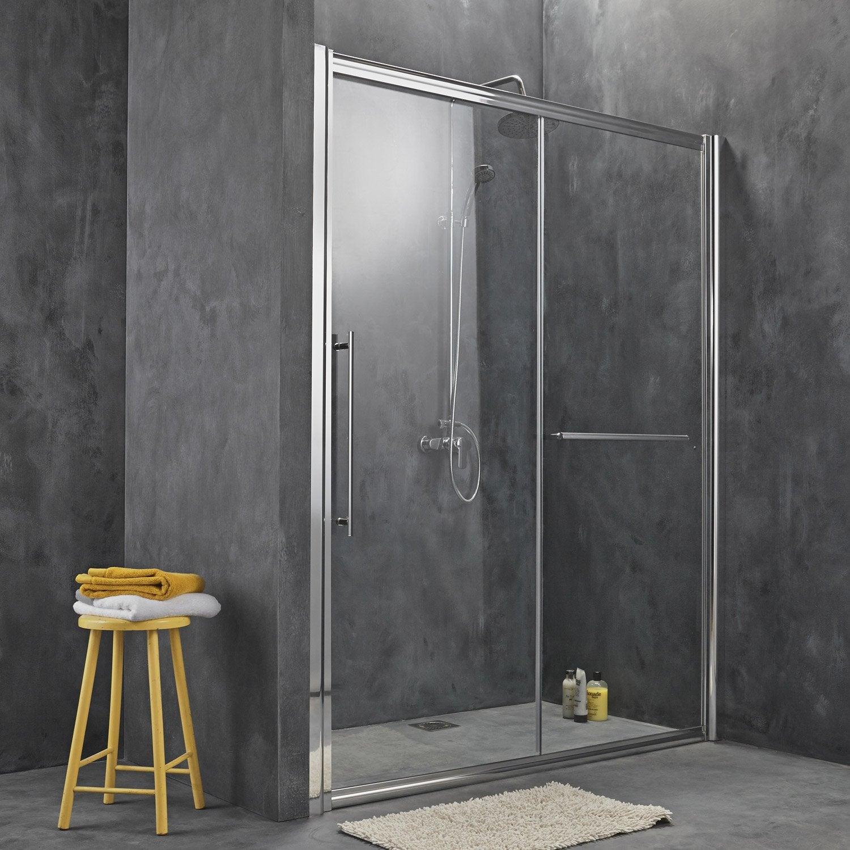 Porte de douche coulissante breuer palerme verre de s curit transparent leroy merlin for Portes de douche en verre