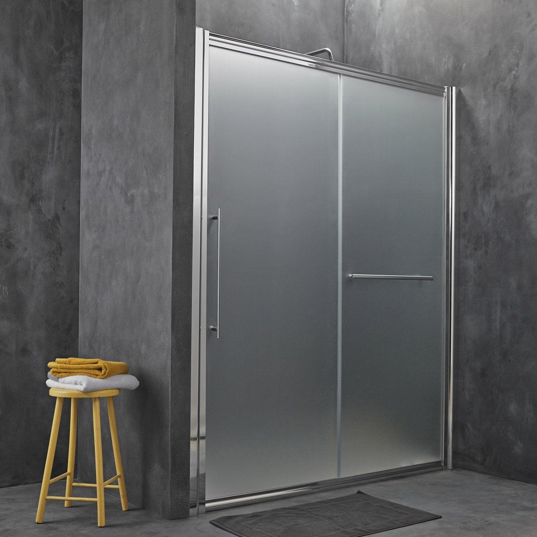 Porte de douche coulissante breuer palerme verre de for Leroy merlin porte coulissante verre